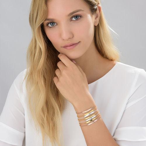 Pulsera de identificación para mujer chapada en oro - 2