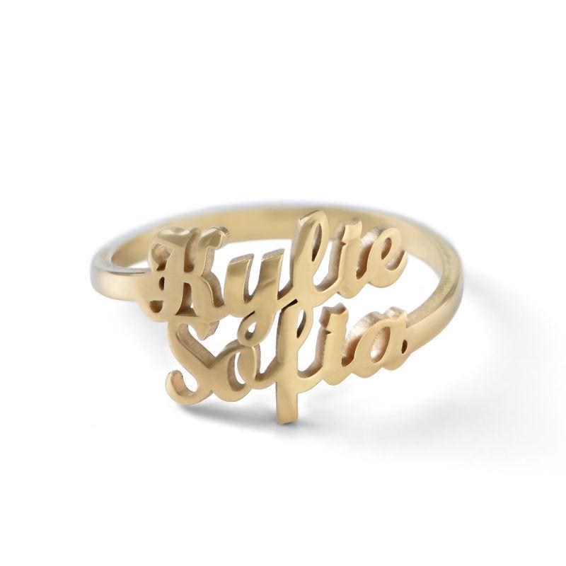 Anillo Personalizado con Dos Nombres Chapado en Oro product photo