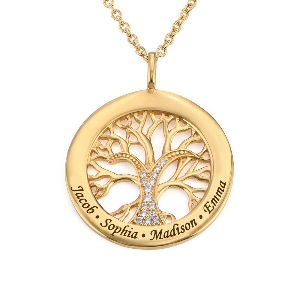 Collar con círculo con árbol de la vida y circonia cúbica chapado en oro product photo