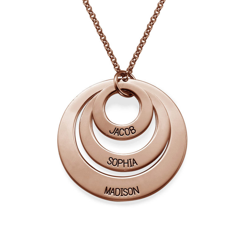 Joyería para Mamá – Collar de Tres Discos en Chapa de Oro Rosa product photo