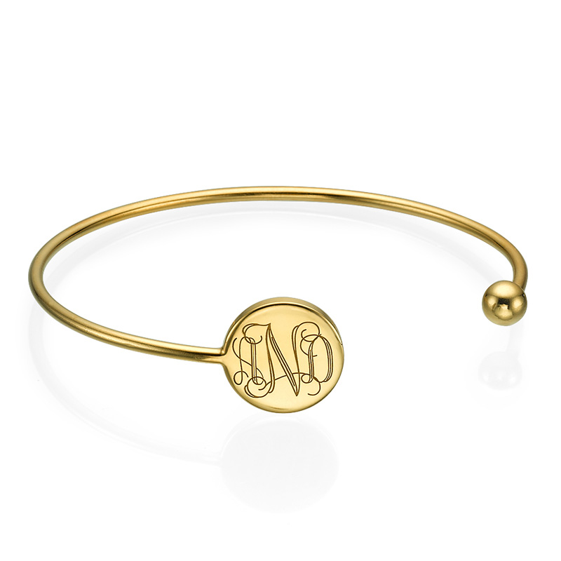 Pulsera Bangle Monograma Chapado en Oro 18K Ajustable product photo