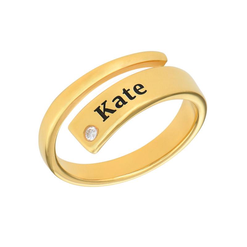 Anillo abierto personalizado con diamante chapado en oro product photo