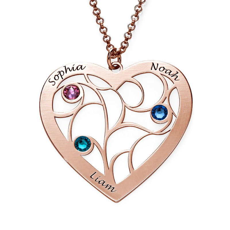 Collar Árbol de la Vida en forma de Corazón con Piedras de Nacimiento Chapado en Oro Rosa product photo