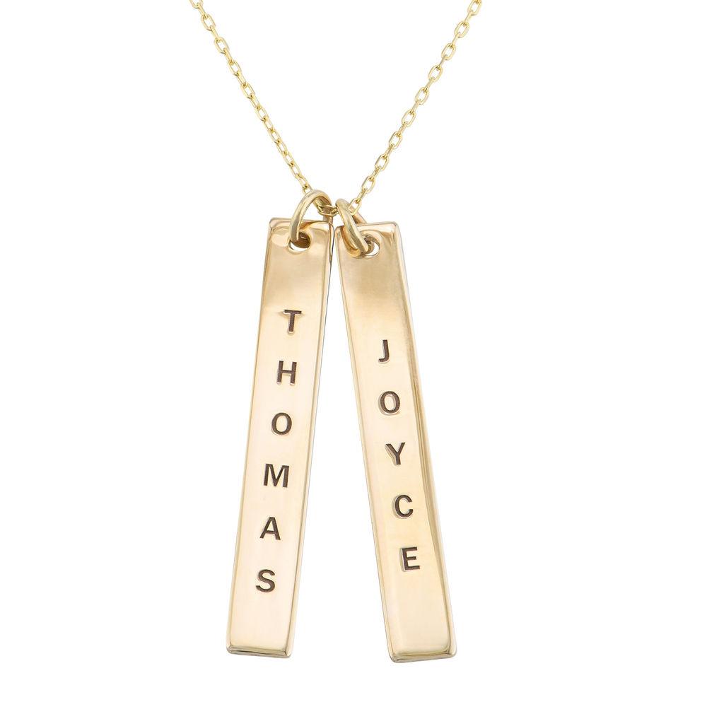 Collar de Barra Vertical Grabado en oro macizo de 10k product photo