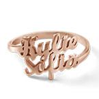 Anillo Personalizado con Dos Nombres Chapado en Oro Rosa