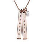 Collar de Barra Vertical Grabado en Chapa de Oro Rosa de 18k