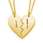 Collar Personalizado Chapado en Oro con Corazón Divisible
