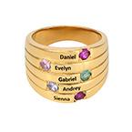 Anillo de las Madres con 5 Piedras y Chapa de Oro en Tamaño Grande