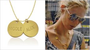 Heidi Klum con Collar con Discos Personalizado de Plata Chapada en Oro 18k