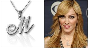 Madonna con Colgante con La Letra Inicial de Su Elección en Plata de Ley