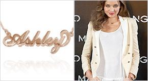 Miranda Kerr Collar con nombre Estilo Carrie plata de ley chapada en oro Rosa