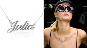 Paris Hilton con Collar con nombre de plata de ley
