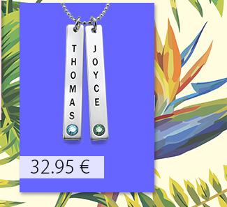 Collar colgante Vertical con cristales Swarovski, Plata de Ley 0.925