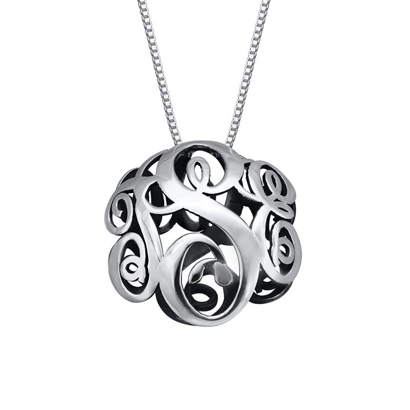 3D-monogrammi kaulakoru – hopea