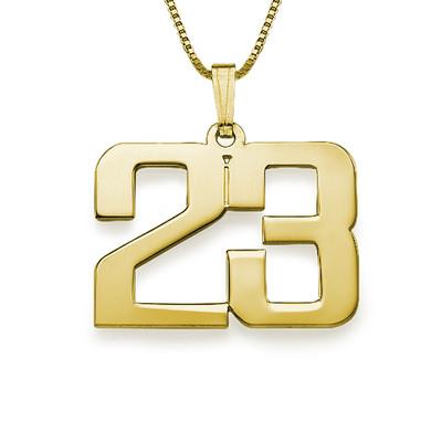 18K kullattu sterling-hopeinen kaulakoru numerolla