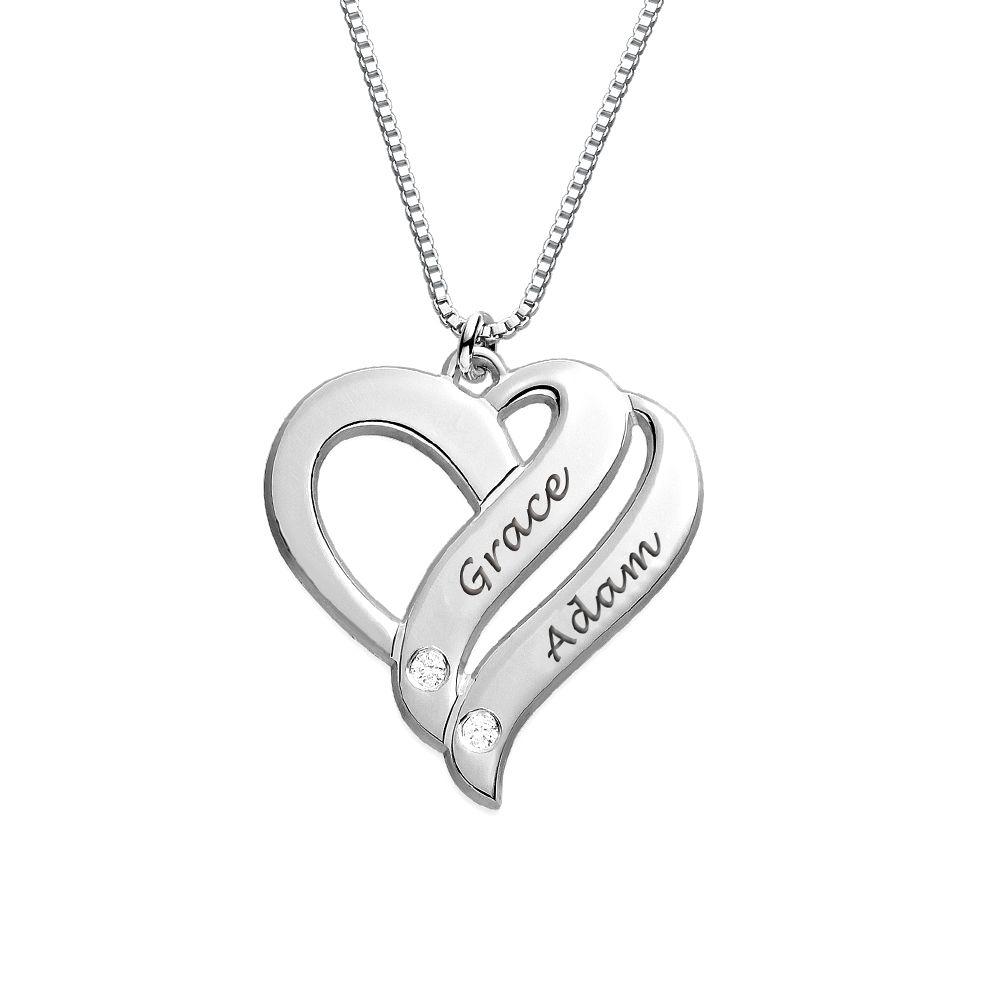 Sterling-hopeinen Kaksi sydäntä ovat aina yhtä -timanttikaulakoru