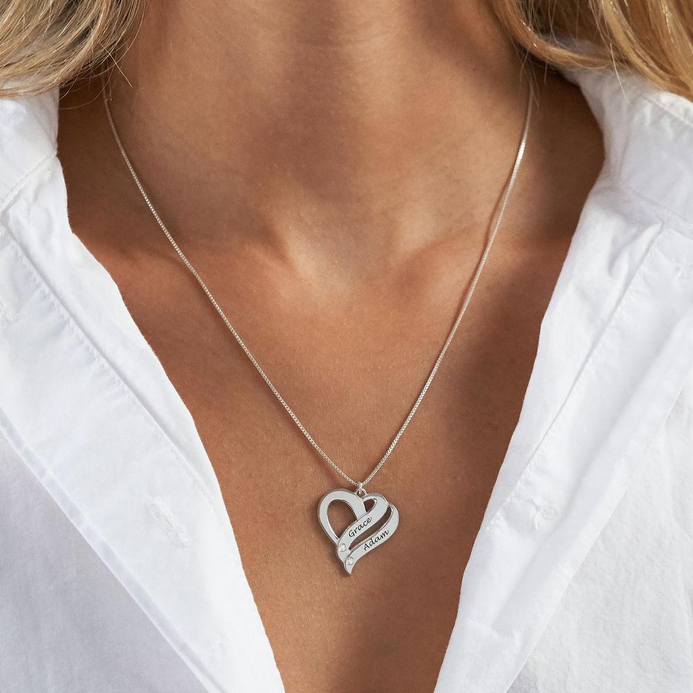 Sterling-hopeinen Kaksi sydäntä ovat aina yhtä -timanttikaulakoru - 2