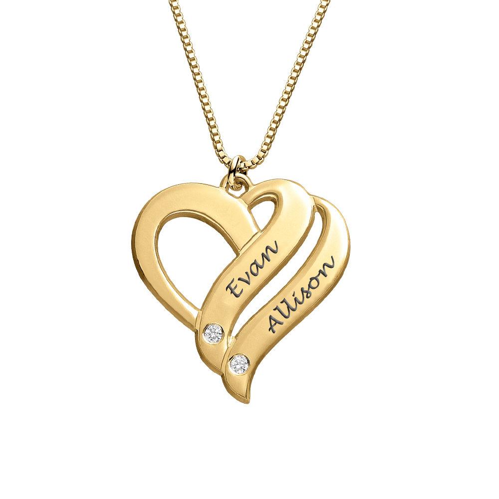 Kaksi sydäntä ikuisesti-kaulakoru timanteilla 18k Vermeil-kullattuna