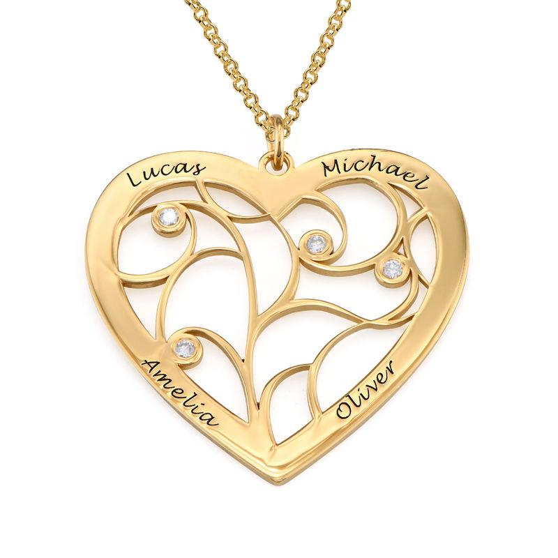 Sydämen muotoinen perhe kaulakoru elämänpuu riipus timanteilla, kullattu