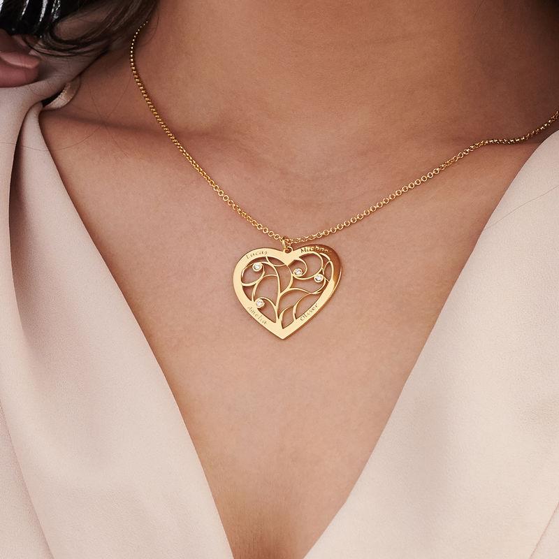 Sydämen muotoinen perhe kaulakoru elämänpuu riipus timanteilla, kullattu - 2