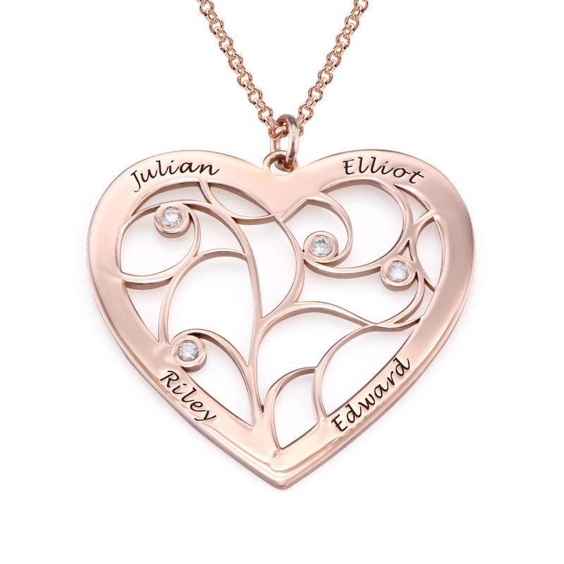 Sydämen muotoinen perhe kaulakoru elämänpuu riipus timanteilla, ruusukullattu