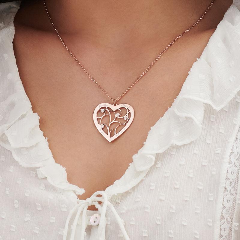Sydämen muotoinen perhe kaulakoru elämänpuu riipus timanteilla, ruusukullattu - 2