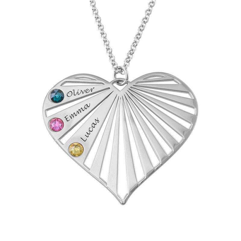 Sydänkaulakoru kuukausikivillä, sterling-hopea - 2