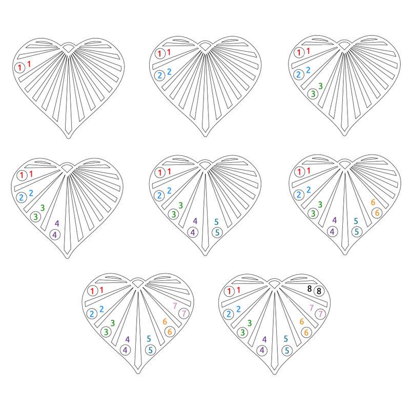 Sydänkaulakoru kuukausikivillä, sterling-hopea - 8