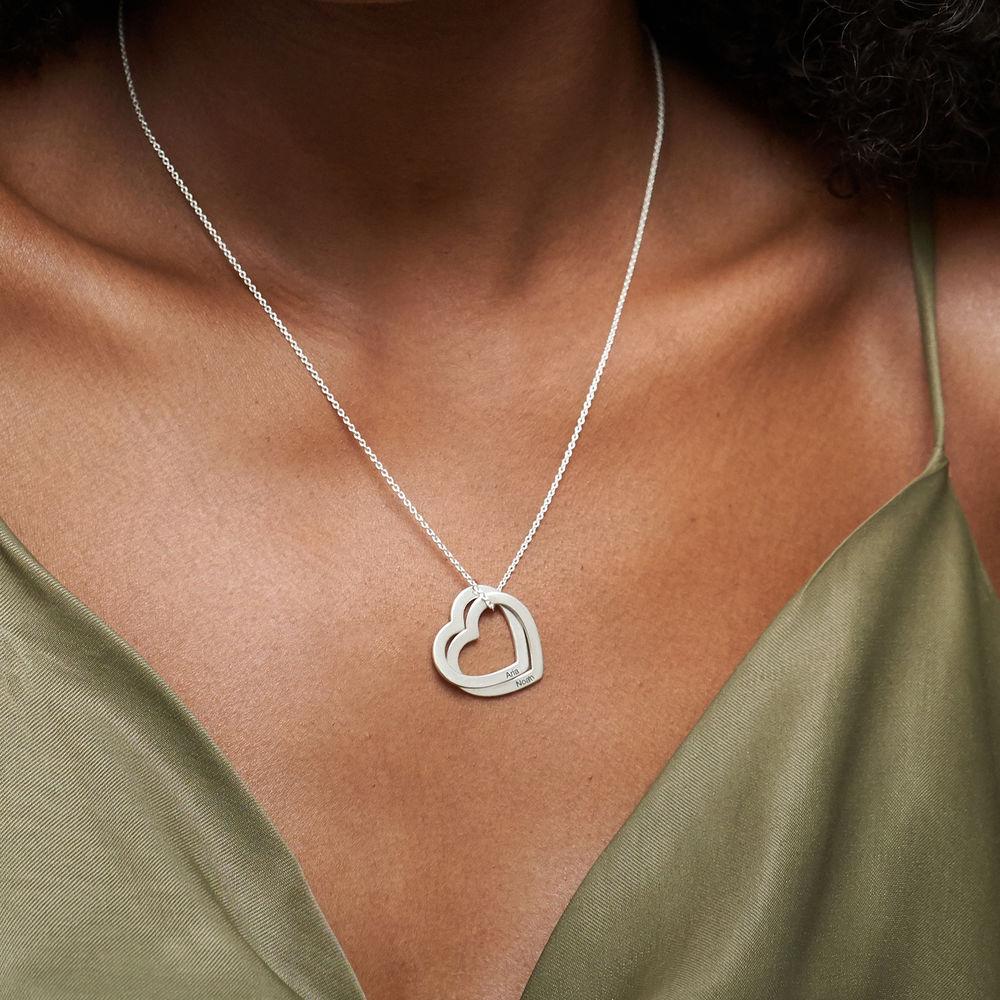 Sterling-hopeinen yhteen liittyvä sydän kaulakoru - 3