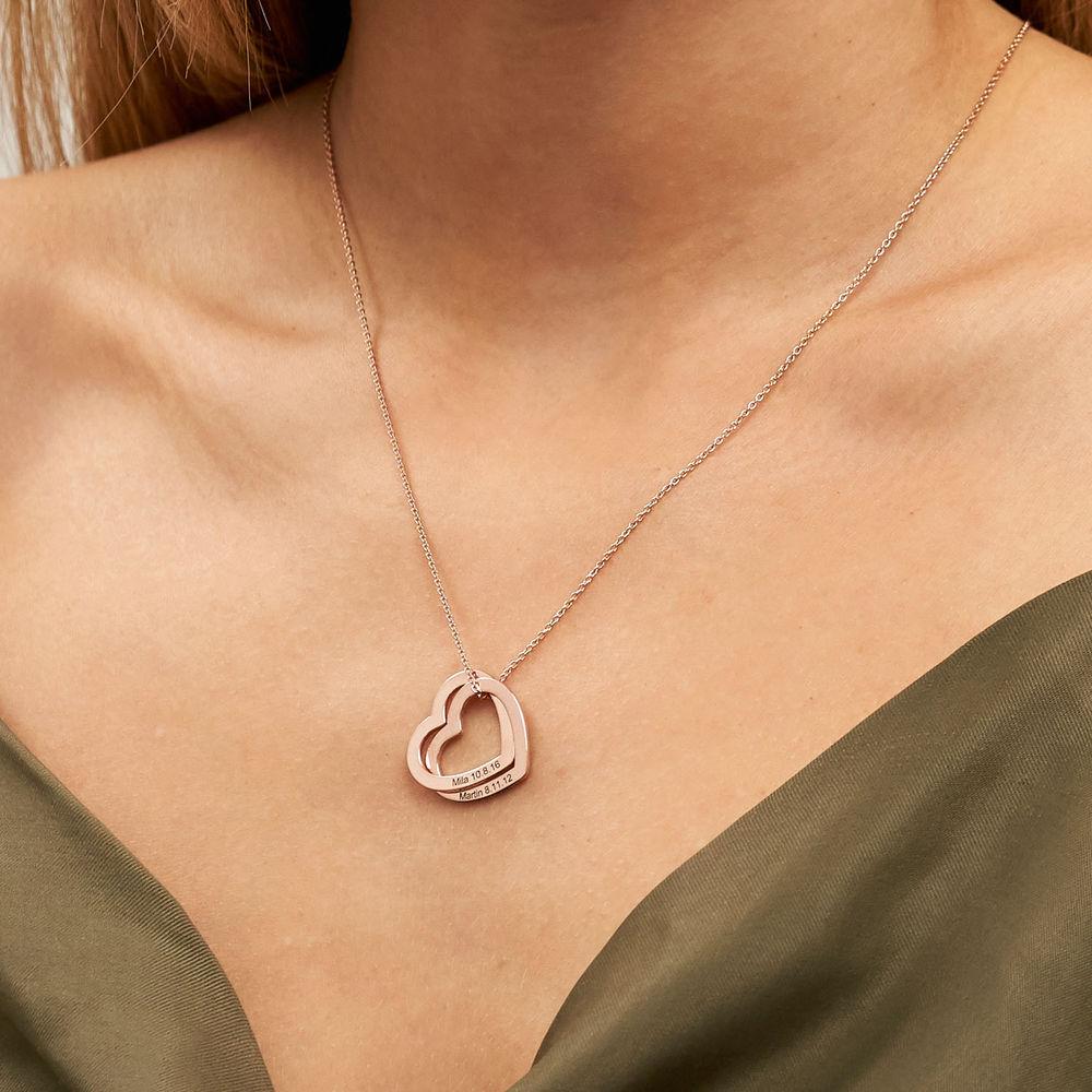 18K ruusukullattu yhteen liittyvä sydän kaulakoru - 3