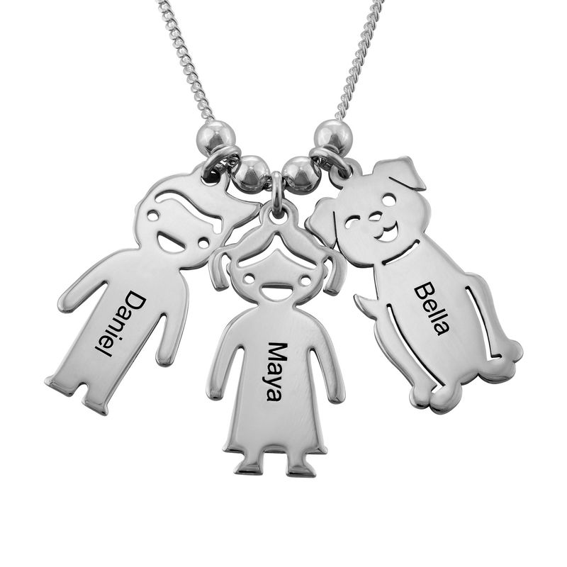 Lapsiriipus kaulakoru kaiverruksella - koira ja kissa, hopea - 1