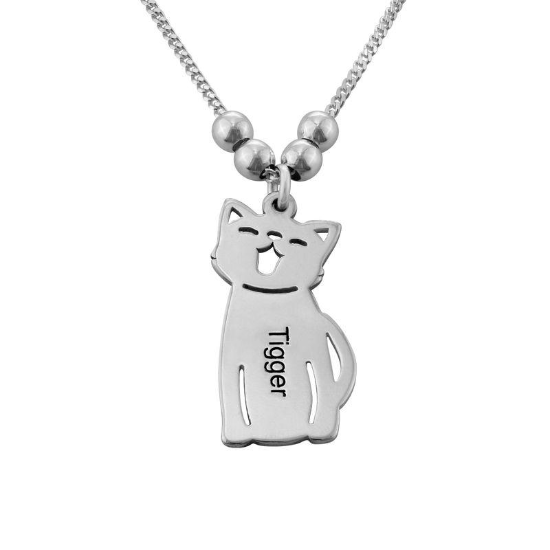 Lapsiriipus kaulakoru kaiverruksella - koira ja kissa, hopea - 2