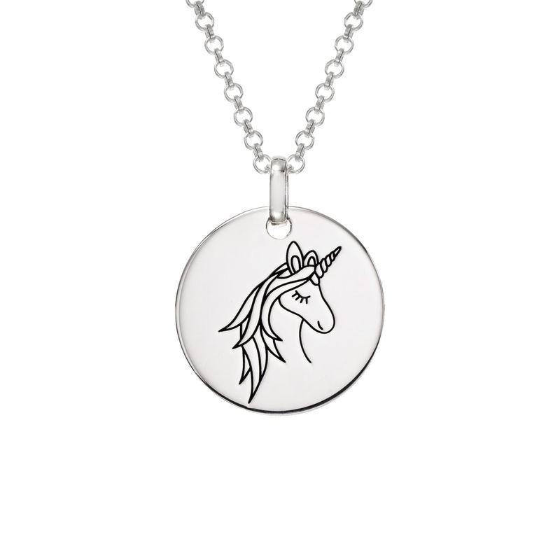 Unicorn yksisarviset kaulakoru kaiverruksella hopeisena