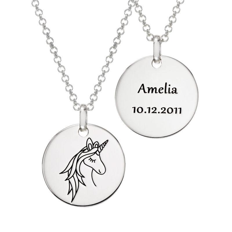 Unicorn yksisarviset kaulakoru kaiverruksella hopeisena - 2