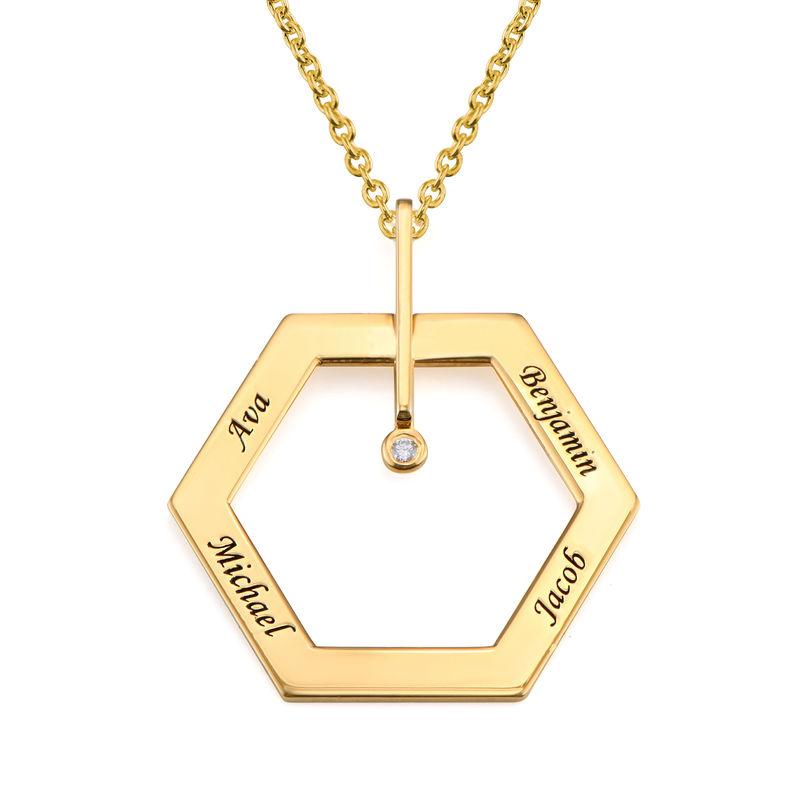 Kuusikulmio koru kaiverruksella ja timantilla, kullattu