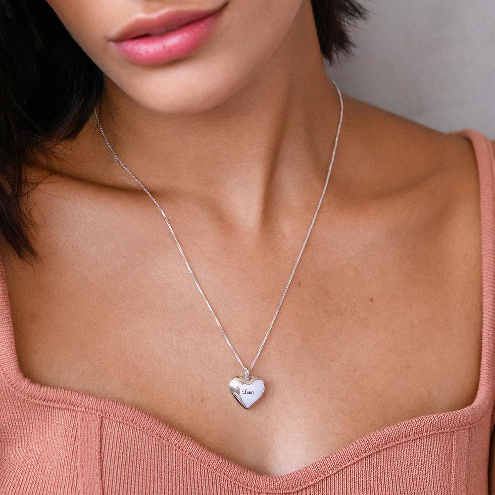 Sydänriipus-kaulakoru kaiverruksella Sterling-hopeisena - 2