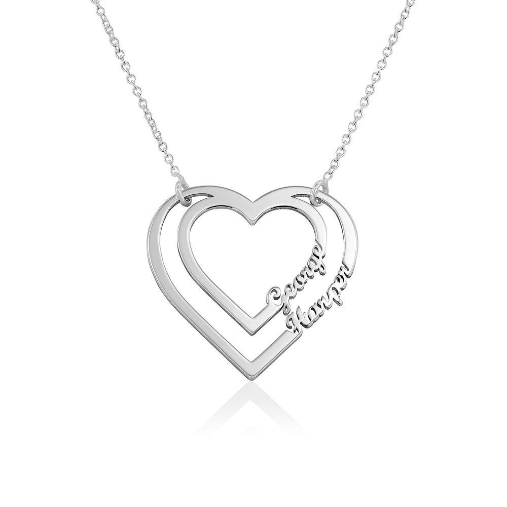 Yksilöity sydänkaulakoru kahdella nimellä, Sterling-hopeaa