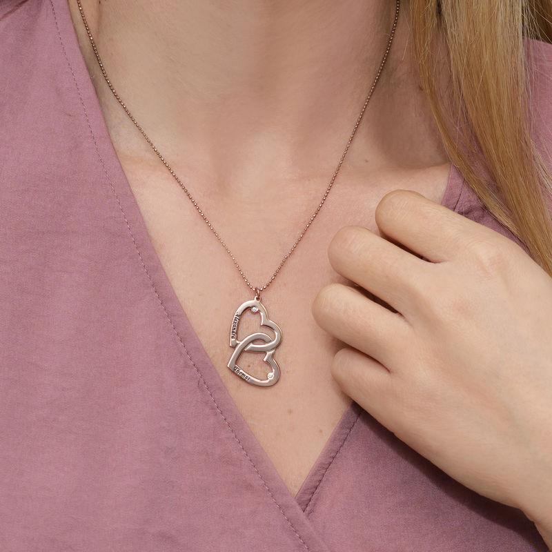 Sydän sydämessä kaulakoru ruusukullattuna & timanteilla - 2