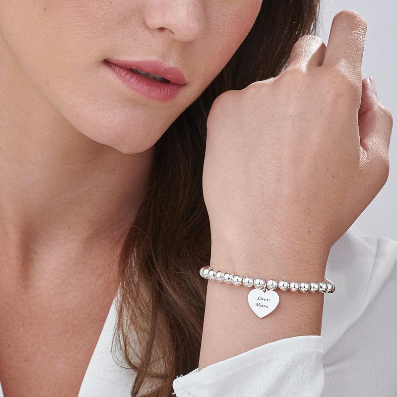 Sydän riipus helmi rannekoru kaiverruksella, sterling-hopea - 2