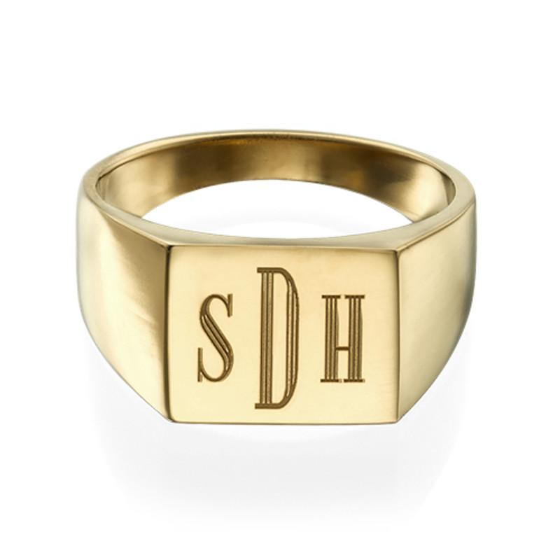 Miesten sormus kultauksella ja monogrammi kaiverruksella - 1