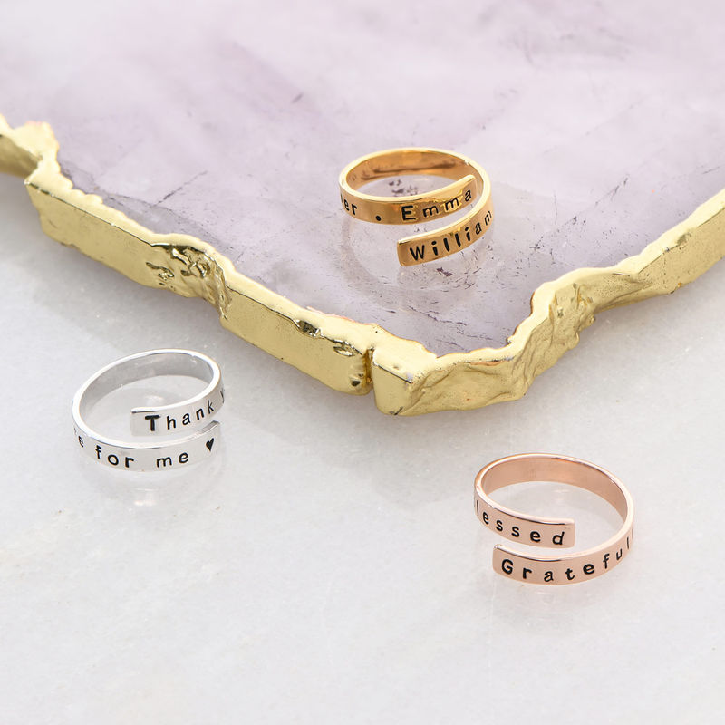 Kietoutuva sormus kaiverruksella, sterling-hopea - 3
