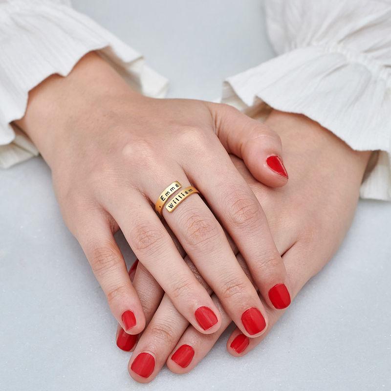 Kietoutuva sormus kaiverruksella, kullattu - 6