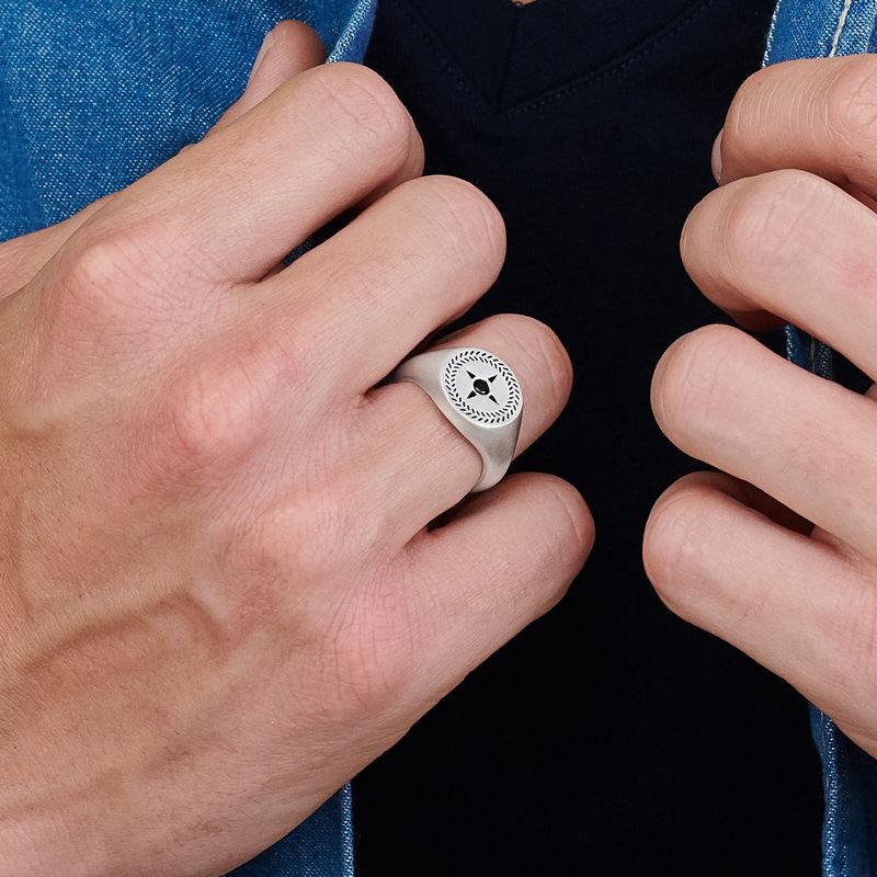 Yksilöllinen kompassikuvioinen kantasormus miehelle, hopea - 3