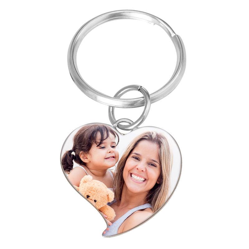 Kaiverrettu valokuva-avaimenperä omalla kuvalla - sydän