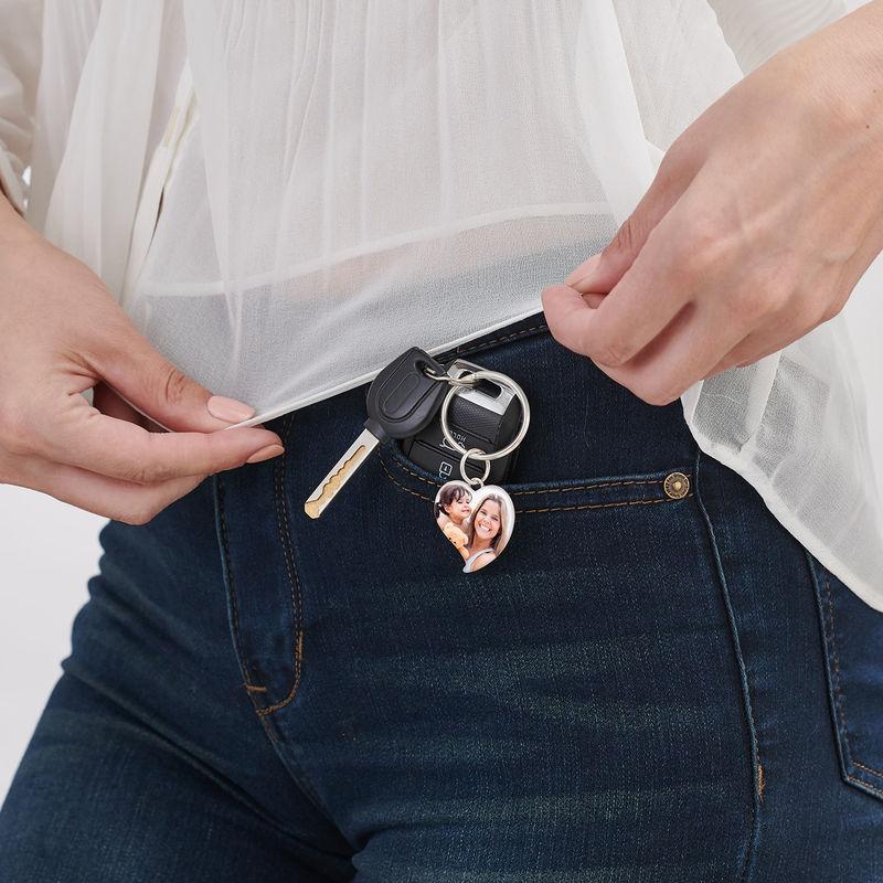 Kaiverrettu valokuva-avaimenperä omalla kuvalla - sydän - 2