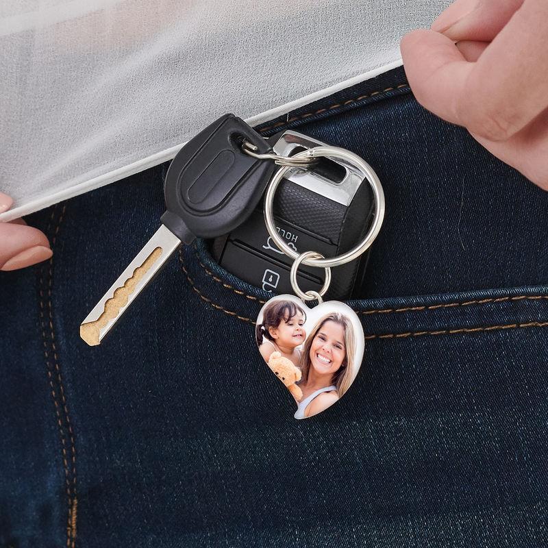 Kaiverrettu valokuva-avaimenperä omalla kuvalla - sydän - 3