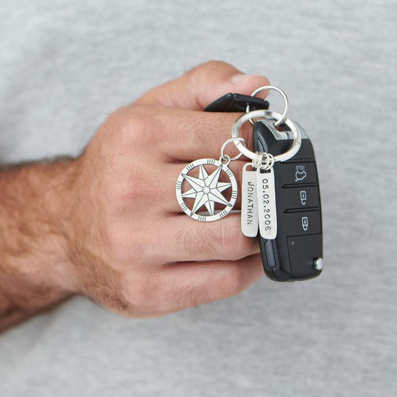 Yksilöllinen kompassin avaimenperä, sterling-hopea - 2