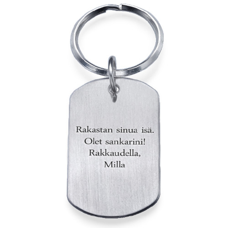 Hopeinen Dog Tag-Avaimenperä