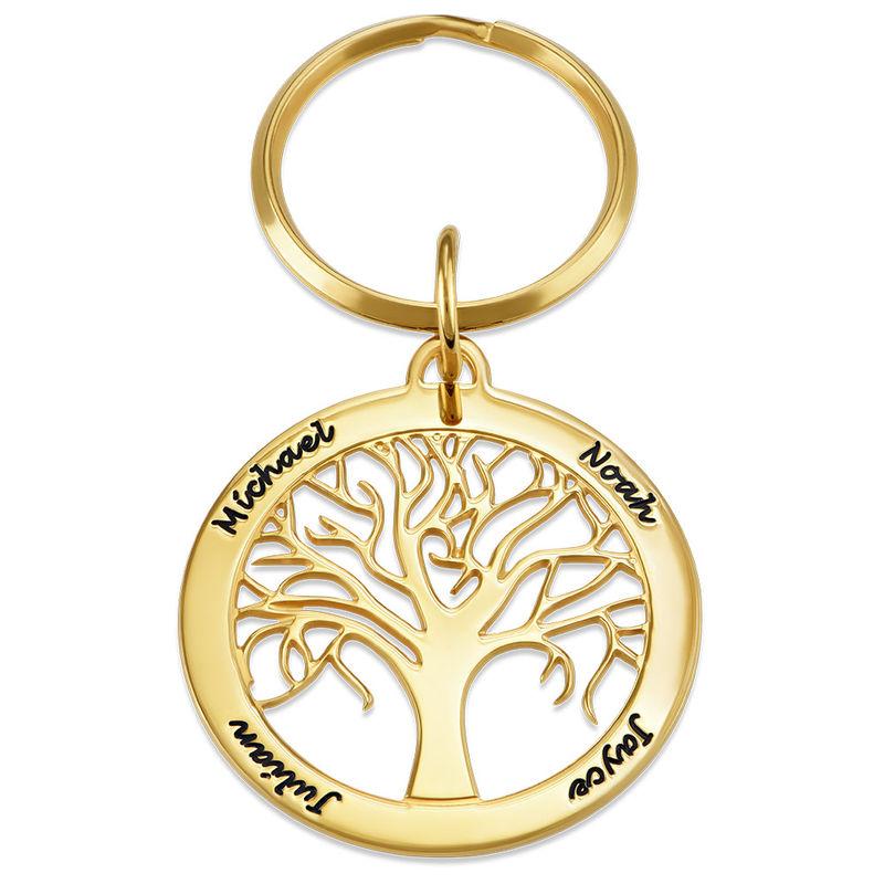 Personoitu elämänpuu avaimenperä kultauksella