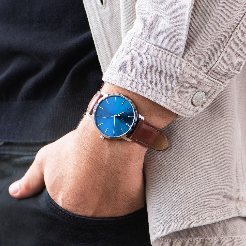 Hampton Minimalist - Miesten ruskea nahkarannekello sinisellä taululla - 7